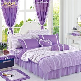 Beautiful Modern Bedding Australia - ROMORUS 100% Cotton Beautiful Purple Korean Princess Bedding Set 4 pcs for Girls Lace Bed Skirt Queen King Size Duvet Cover Sets
