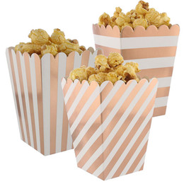 Gold Wrapping Papers NZ - 36pcs Foil Rose Gold Party Treat Popcorn Boxes Sanck Containers Kids Paper Candy Bags Wedding Birthday Movie Party Supplies