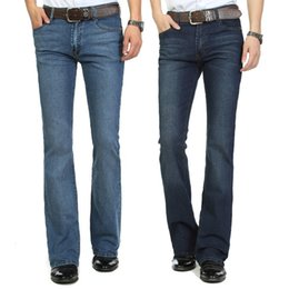 Fly Cut NZ - High Quality And Promotion 2018 Men's Mid Waist Elastic Slim Boot Cut Semi-flared Bell Bottom Business Casual Jeans Four Seasons Y190603