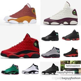 cheap tv boxes UK - Cheap Men Jumpman 13 XIII basketball shoes 13s DB Black Infrared White Green Red Olive j13 air flights aj13 sneakers boots for sale with box
