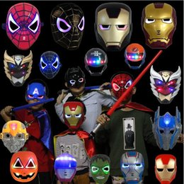 $enCountryForm.capitalKeyWord Australia - Funny Boys LED Glowing Light Mask hero SpiderMan Captain America Hulk Iron Man Mask For Kids Adults Party Halloween Birthday Kids Cosplay