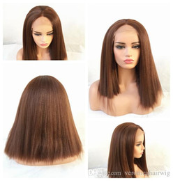 $enCountryForm.capitalKeyWord Australia - New Sexy Synthetic Wigs 6# Brown kinky straight lace front wigs for black wowen Heat Resistant Glueless synthetic Lace Wigs with Baby Hair