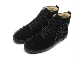 $enCountryForm.capitalKeyWord NZ - 2019New Arrival mens womens black matter leather with black spikes high top sneakers,designer men causal sports shoes Drop shipping