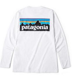 Loose tshirt online shopping - Mens Tees PATAGONIA Long Sleeve Crew Neck T Shirts Hommes Tops Women Casual Loose Tees Mountain Lovers Peak Print Tshirt