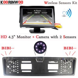 rear parking sensor kits Australia - Koorinwoo EU Wireless parking Sensors 2 Parktronic European License Plate Frame Rear view camera Alarm Kit Car Monitor Mirror