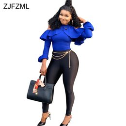 $enCountryForm.capitalKeyWord Australia - Off The Shoulder Sexy Bandage Jumpsuit For Women Long Sleeve Ruffles Full Length Romper Casual Female Zipper Club Party Catsuit