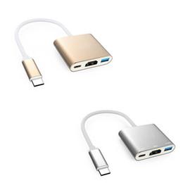 3 en 1 USB-C Hub USB 3.1 HDMI TV Tipo-C Adaptador de video para tableta 10pcs / up en venta
