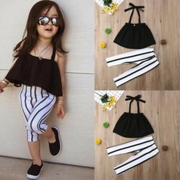 Wholesale 2019 Toddler Kid Baby Girl Clothes Strap Tops Stripe Long Pants Summer Outfits Set