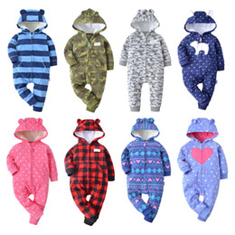 fox romper clothing Canada - 2018 Winter Bebes Clothes Girls Romper Infants Pajamas Fleece Baby Jumpsuit Hooded Baby Fox Clothing Toddler Boys Warm Clothes MX190720