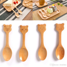 spoon style Canada - Children wooden cartoon spoon 4 styles creative environmental protection lovely dessert ice cream wooden spoon kitchen supplies