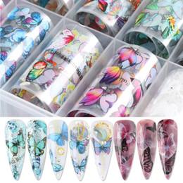 Toptan satış 10 Rulo Tırnak Folyoları Çıkartmalar Renkli Transfer Folyo Kelebek Sarar Yapıştırıcı Çıkartmaları Kağıt Çivi Dekorasyon CH1797