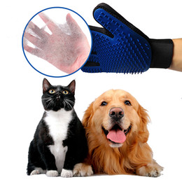 deshedding tool wholesale UK - Pet Cleaning Brush Dog Comb Silicone Glove 2020 New Bath Mitt Pet Dog Cat Massage Hair Removal Grooming Magic Deshedding Glove