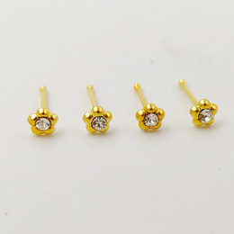 Nose packs online shopping - 925 Sterling silver nose Stud flower crystal nariz straight fashion gold nose piercing jewelry pack