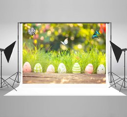 paint muslin backdrop Canada - Kate Easter Backdrops for Photography Spring Bokeh Backgrounds Photo Nature Colorful Eggs Backdrop