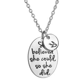 "$enCountryForm.capitalKeyWord UK - Hand stamped ""she believed she could so she did"" Disc Swallow Charms Pendant Necklace For Women Best Friends Inspirational Jewelry 631"