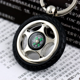 Car Tires Chains Australia - 10pcs lot Wholesale For 4s Shop Compass Keychain Tyre Key Chain Car Tire Keyring Gift For Driver 5311