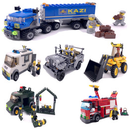 bicycle party decorations NZ - DIY Car Model Toy, Plastic Building Blocks, Fire Engine, Police Car, Military Jeep Car, for Kid' Party Birthday Gift, Collecting, Decoration