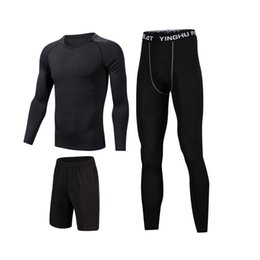 tracksuits for gym men UK - gym men's sportswear compression fitness tracksuits tight running sports suit jogging sport clothes set for man tights clothing