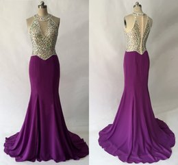rhinestone collar evening dresses UK - Amazing Purple Sheer Neck Prom Dress Rhinestones Crystal Top Mermaid Chiffon Hollow Back Long New Evening Formal Dress