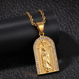 $enCountryForm.capitalKeyWord Australia - Luxury Designer Gold Hip Hop Bling Diamond Church Cross Virgin Mary Pendant Necklace Twist Chain for Men Women Bijoux Rapper Chains Jewelry