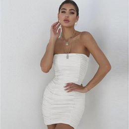 sexy tube white dress Australia - Womens Designer Dress Luxury Solid Color Tube Top Sexy Party Dresses Casual Creased Pattern Clothes Summer New 4 Colors
