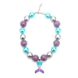 $enCountryForm.capitalKeyWord Australia - Fashion Mermaid Tail Kid Chunky Necklace Beaded Chain Girls Bubblegum Beads Charm Pendant Chunky Necklace Jewelry For Baby Girls