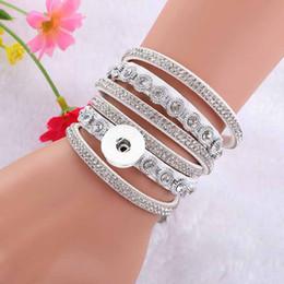 Spring Women Velvet NZ - Hot Sale Interchangeable Crystal 086 Rhinestones Velvet Leather Bracelet 18mm Snap Button Jewelry Charm Bangle For Women Gift 39cm
