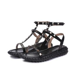 $enCountryForm.capitalKeyWord Australia - 2019Designer women Genuine Leather flat party fashion rivets girls sexy Bare feet shoes wedding shoes Double straps sandals 3A