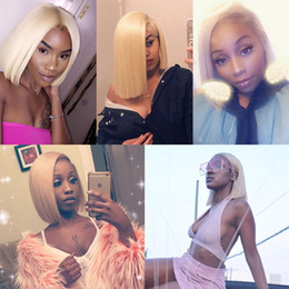 $enCountryForm.capitalKeyWord Australia - 613 Lace Front Human Hair Wigs Colorful Bob Cut Wigs Straight Transparent Short Wigs 150% Honey Blonde Remy Hair Full End
