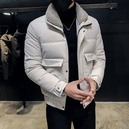 black hair korean 2019 - Hair lapel cotton men's Korean version of the trend handsome cotton jacket 2019 new winter warm jacket thick clothi