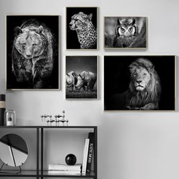Lion canvas print online shopping - Black White Lion Bear Rhino Leopards Owl Wall Art Canvas Painting Nordic Posters And Prints Wall Pictures For Living Room Decor