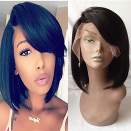 $enCountryForm.capitalKeyWord NZ - Short Cut Bob Human Hair Wigs With Bangs Brazilian Virgin Hair Short Lace Front Wigs For Black Women Pre Plucked Natural Hairline