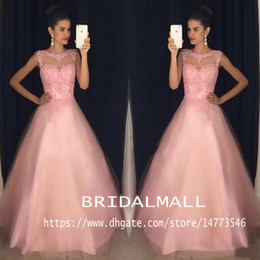Long organza bridesmaid dresses online shopping - Pink Tulle Long Prom Dresses Elegant Appliqued Lace Formal Evening Gowns Sheer Neck Party Dress Bridesmaid Cheap Custom Vestidos de fiesta