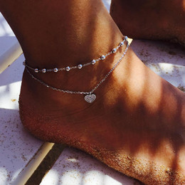 simple silver foot chain NZ - Simple Double-Layer Peach Hearts Charming Pendant Anklets Love Heart Bead Chain Silver Plated Foot Chain Anklet Bracelet For Women Men