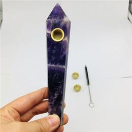 $enCountryForm.capitalKeyWord Australia - 15cm Natural crystal smoking pipe crystal pipe +2PC gold filter +1 brush 1