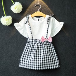 Girls 5t skirt suit sets online shopping - Kids Girls Skirt Sets Summer Girls Skirts Flare Sleeve Soild Shirts Plaid Strap Elastic Waist Skirt Two Piece Suit Dot Printed Bow