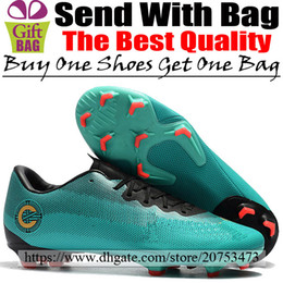 3d8e3321a New Leather CR7 Soccer Shoes Cristiano Ronaldo Mercurial Vapors XII Pro FG  ACC Football Boots Mens Outdoor Low Soccer Cleats Green Gold