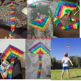 Kite Toys NZ - Colorful Rainbow Kite Long Tail Nylon Outdoor Kites Flying Toys For Children Kids Stunt Kite Surf Without Control Bar and Line