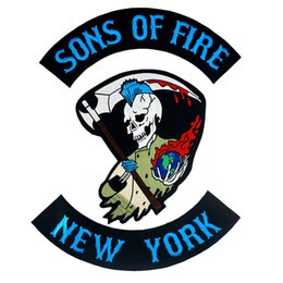 $enCountryForm.capitalKeyWord Australia - SONS OF FIRE NEW YORK large punk embroidered iron on backing biker patch badge for jacket jeans 3 pieces  SET