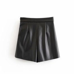 faux leather skater skirt UK - 2019 New Women High Waist Faux PU Leather Skater Mini Skirt Solid Color Sexy Short Summer Spring Sexy Mini Skirt