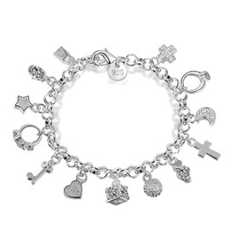 Sterling Silver Cross Charms Wholesale Australia - Luxury 925 sterling silver chains bracelets Key lock Cross Rings Star Moon Love Heart charm Lobster clasp bangle For women Fashion Jewelry