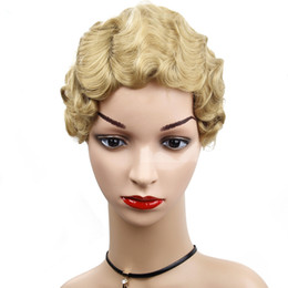 heat resistant wig black blonde Australia - Short Pixie Wavy Blonde Wig Finger Wave Curly Synthetic Wigs for Black Women African American Fake Hair Heat Resistant 8inch