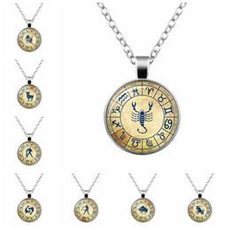 $enCountryForm.capitalKeyWord Australia - Vintage 12 Constellation Symbol Round Time Gem Pendant Necklace Aries Taurus Aquarius Horoscope zodiac Gift For Friends 1PCS