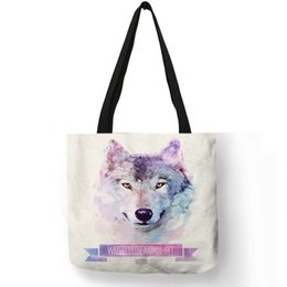 Discount tiger tote bags - Watercolor Painted Animal Printing Tote Bag Panda Tiger Wolf Cat Dog Fox Casual Linen Durable Shoulder Bags Girls Studen