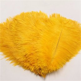 Discount feather centerpieces - 12-14inch Gold Ostrich Feathers plume Wedding centerpiece feather Centerpieces decoraction Table centerpiece party event