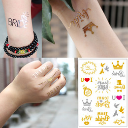 Chinese  Wedding Tattoo Fake Metal Gold Flash Sticker Bride Team Word Crown Heart Designs Small Temporary Tattoo for Bride Bridesmaid Face Hands Neck manufacturers