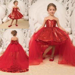 $enCountryForm.capitalKeyWord Australia - Flower Girl Dress Detachable Train Sheer Sequined Ball Gown Girls Pageant Dresses Back Bow High Low Kids Communion Dress For Birthday