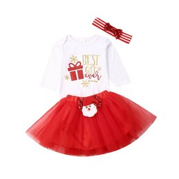 christmas clothes Australia - Christmas newborn outfits cute baby girls suits long sleeve romper+Tutu Skirts+bows headband 3pcs baby girl clothes A8622