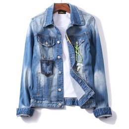 Feather Jackets Women UK - 2019 M-2XL Men Jean Jacket Clothing Denim Jacket Fashion Mens Jeans Thin Spring Outwear Male Cowboy