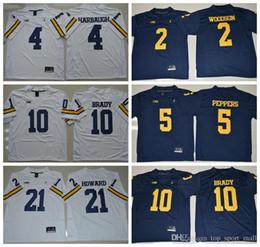 Football Jersey Brady NZ - NCAA Michigan Wolverines Football 10 Tom Brady College Jerseys 2 Charles Woodson 4 Jim Harbaugh Jersey 5 Jabrill Peppers 21 Desmond Howard